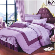 100% cotton Reactive dyes printed embroidered bedding set