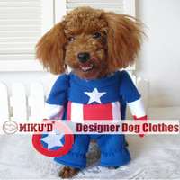 2015 New design hot sale Halloween Captain American costume cosplay costume for pet dog clothes
