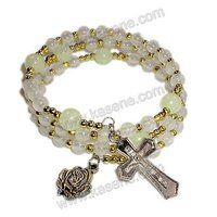 cheap fashion plastic luminous rosary bracelet