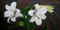 Golden Supplier Professional Artists 100% Handpainted Lily Oil Painting Canvas for Home Hotel Wall Decorative Usage