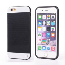 Luxury Business Metal PC Bumple Frame + Silicone Phone Case for Apple iPhone 6 Rubber Back Protector Cover