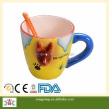 Kangaroo 3D animal design OEM customer development ceramic mug with spoon