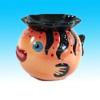 Hand painted customized Orange Fish plant pot Ceramic Watering Planter