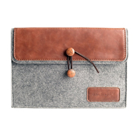 J.M.SHOW Notebook Sleeve Bag Envelope PU Leather Case Wool Felt Sleeve 12 inch for Macbook New 12 /Retina Pro 13 inch(Brown)