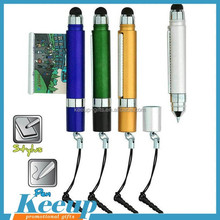 2015 mini touch screen metal stylus promotional pen for smartphone(with dust-proof plug,as phone keychain)