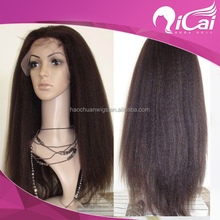 Premier hair Hair 130% Density Yaki Swiss Lace Wigs Virgin Color 100% Full Hand-tied Brazilian Virgin Human Natural Hair Wig