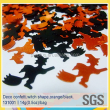 Halloween decoration witch shape table metallic confetti