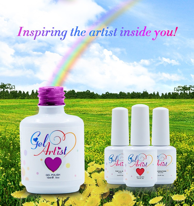 2016 GelArtist Wholesale Soak Off Colored UV Nail Gel polish
