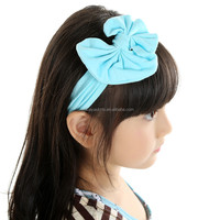 Wholesale sweet and lovely decorative cotton baby girl headwear with bowknot