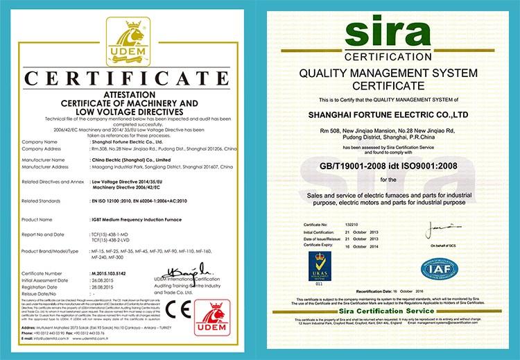 certificate for 50HZ or 60HZ Small furnace Copper Smelter for melting steel