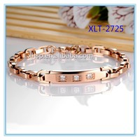 Charming women rose gold 316L stainless steel bracelet jewelry with zircon