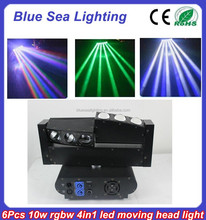 Hot sale 6pcs 10w rgbw 4 in 1 led spider beam moving head light