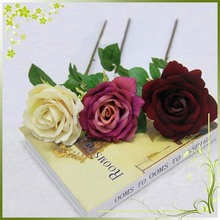 single rose in artificial flowers for wedding decoration in wholsale in 2015 in Guangzhou