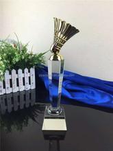 trending hot crystal trophy golden badminton