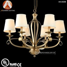Oriental Brass Chandelier in Bronze Color with White Fabric Shade