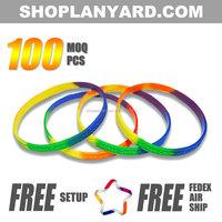 Multi Colour Embossed Silicone Wristband NO Minimum Order