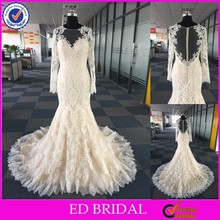 LN15 2016 Real Sample Sexy See Through Back Champagne Colored Long Sleeve Wedding Dresses