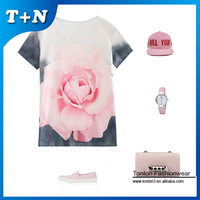 wholesale sublimation new pattern cut and sew graphic t-shirts