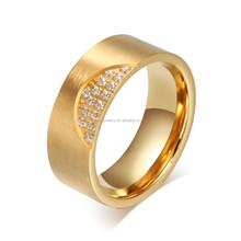 Latest designStainless Steel ring brush finish Gold CNC Men's Wedding Band
