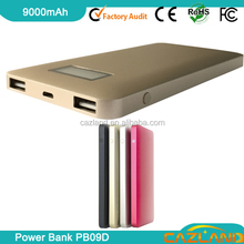 2012 best selling ALD-P07 9000mAh mobile phone emergency battery char with digital LCD display /dual USB output