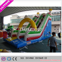 Yellow bridge inflatable slide, slide inflatable,commercial inflatable slide for sale