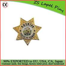 Custom high quality award gift safety pin back Sheriff Department Badge