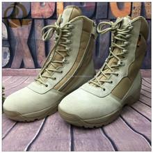 Homens vestido bege couro de boa qualidade preço barato botas táticas militares / exército botas de saltos