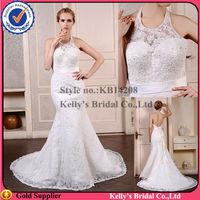 Latest Design 2014 High Fashion Hang neck type halter mermaid wedding dress