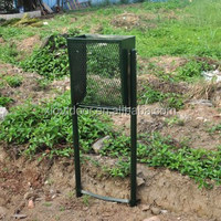 outdoor metal mesh trash can