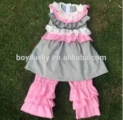 2015 Bulk Wholesale Yiwu Boyi Garments Factory Cheap Price Boutique Giggle Moon Remake Designer Ruffle Gorgeous Baby Girl Outfit