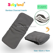 United States Best Seller 5 Layers Gussets Bamboo Diaper Charcoal Inserts