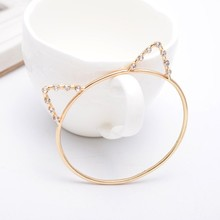 Cute Animal Gold Jewellery Cat Ear 22k Gold Bangles