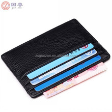 Handmade Leather Unisex Slim Card Case Card Holder Compact Wallet with ID Card Window