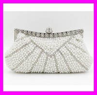 Unique design fashion elegant ladies pearls and crystal evening clutches and purses HD1772