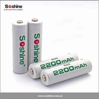 Soshine ready to use, nimh aa 2200mah 1.2v aa rechargeable battery