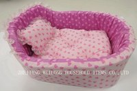 heart printed princess dog bed