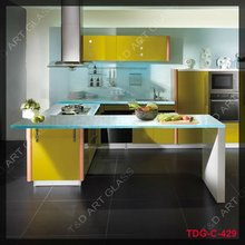 Luxury fusion glass kitchen countertop with sink