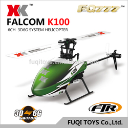 XK BLASH K100 6CH 3D6G RC FTR HELICOPTER IN GREEEN COLOR