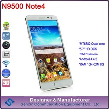 Star N9500 Note 5.7 inch alps mobile phone MTK6582 Quad core Note phone mobile