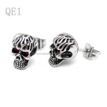 punk 316l in acciaio inox rosso Crystal Eye fantasma cranio stud orecchini