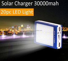 Wholesale Solar Camp Light 30000MAH Solar Battery Charger+ 20pc LED Camp Lantern Light 3 control mode