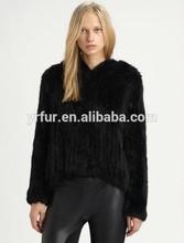 Yr-528 caliente de la venta de la mano de punto de piel de conejo chaqueta con capucha/ropa de mujer/oem