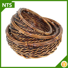 Small Lined Rectangular Wicker Storage Basket Wholesale for Fruit