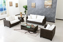 Comfortable natural rattan indoor sofa set furniture with tea table