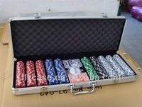 300pcs sticker poker chip set aluminum poker set/case with chip and playing card