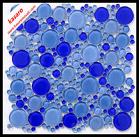 Blue Crystal glass mosaic tiles,round glass mosaic, Glass Mosaic Tile Circles,