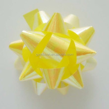 GLITTER Yellow PP Star Ribbon Bow,Star Flower Bow with Elastic Loop as Holiday items