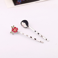 Smiling Face or Small Red Flowers With Silvery White Hairpin