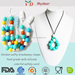BPA Free silicone chew beads organic teething necklace wholesale Silicone Teething Necklaces For Babies