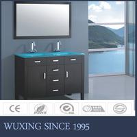 Black colored MDF material modern design rectangular shape sink bathroom furniture